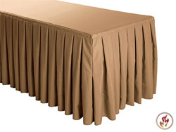 FR Box Pleat Polyester Table Skirts - 6 Foot Table (3 sides covered) - 11.5 foot section