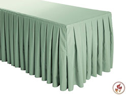 FR Box Pleat Polyester Table Skirts - 6 FT Table (all sides covered) - 17 FT section