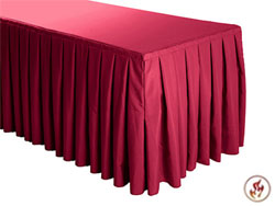 FR Box Pleat Polyester Table Skirts - 6/8 Foot Table - 9.5 foot section