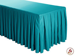 FR Box Pleat Polyester Table Skirts - 8 FT Table (3 sides covered) - 13 FT section