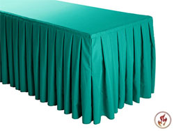 FR Box Pleat Polyester Table Skirts - 8 FT Table (all sides covered) - 21 FT section