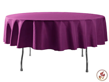 "Rental Flame Retardant 108"" Round Polyester Tablecloth"