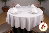 "Rental Flame Retardant 120"" x 120"" Square Polyester Tablecloth"