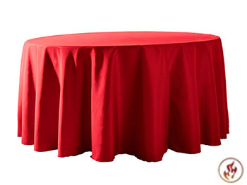 "Rental Flame Retardant 132"" Round Polyester Tablecloth"