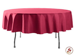 "Rental Flame Retardant 90"" Round Polyester Tablecloth"