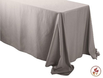 "Rental Flame Retardant 90"" x 132"" Rectangle Polyester Tablecloth"