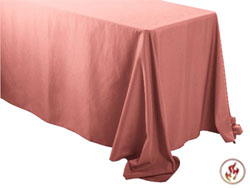 "Rental Flame Retardant 90"" x 156"" Rectangle Polyester Tablecloth"