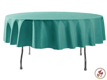 "Rental Flame Retardant 96"" Round Polyester Tablecloth"
