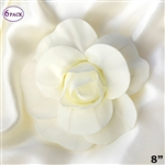 "8"" Large Foam DIY 3D Artificial Flowers For Wedding Room Wall Decoration - Ivory - Pack of 6"