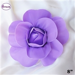 "8"" Large Foam DIY 3D Artificial Flowers For Wedding Room Wall Decoration - Lavender - Pack of 6"