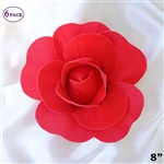 "8"" Large Foam DIY 3D Artificial Flowers For Wedding Room Wall Decoration - Red - Pack of 6"