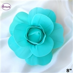 "8"" Large Foam DIY 3D Artificial Flowers For Wedding Room Wall Decoration - Turquoise - Pack of 6"