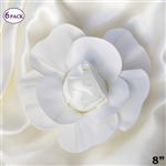 "8"" Large Foam DIY 3D Artificial Flowers For Wedding Room Wall Decoration - White - Pack of 6"