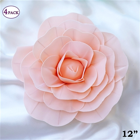 "12"" Foam Paper Craft Artificial Flowers For Wedding - Blush - Pack of 4"