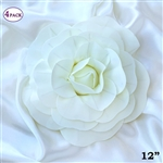 "12"" Foam Paper Craft Artificial Flowers For Wedding - Ivory - Pack of 4"