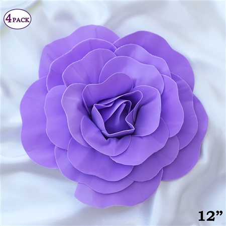 "12"" Foam Paper Craft Artificial Flowers For Wedding - Lavender - Pack of 4"