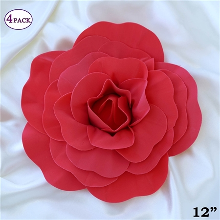 "12"" Foam Paper Craft Artificial Flowers For Wedding - Red - Pack of 4"