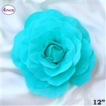 "12"" Foam Paper Craft Artificial Flowers For Wedding - Turquoise - Pack of 4"