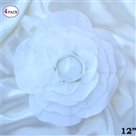 "12"" Foam Paper Craft Artificial Flowers For Wedding - White - Pack of 4"