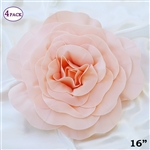 "16"" Large Artificial DIY 3D Flowers for Room Wall Decoration - Blush - Pack of 4"