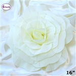 "16"" Large Artificial DIY 3D Flowers for Room Wall Decoration - Ivory - Pack of 4"