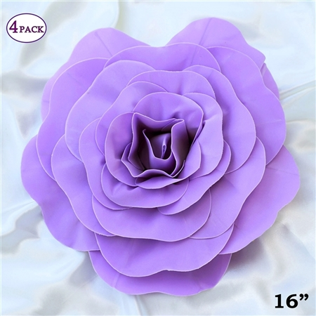 "16"" Large Artificial DIY 3D Flowers for Room Wall Decoration - Lavender - Pack of 4"