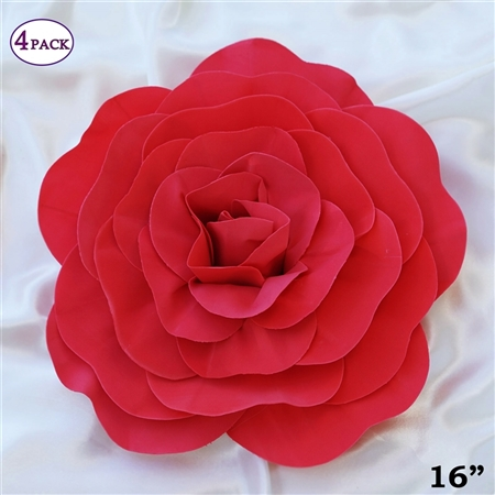 "16"" Large Artificial DIY 3D Flowers for Room Wall Decoration - Red - Pack of 4"
