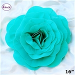 "16"" Large Artificial DIY 3D Flowers for Room Wall Decoration - Turquoise - Pack of 4"