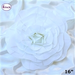 "16"" Large Artificial DIY 3D Flowers for Room Wall Decoration - White - Pack of 4"
