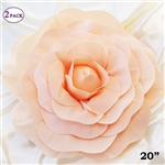 "20"" Giant Rose DIY 3D Artificial Flowers for Wedding Room Wall Decoration - Blush - Pack of 2"