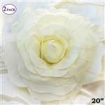 "20"" Giant Rose DIY 3D Artificial Flowers for Wedding Room Wall Decoration - Ivory - Pack of 2"