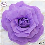 "20"" Giant Rose DIY 3D Artificial Flowers for Wedding Room Wall Decoration - Lavender - Pack of 2"