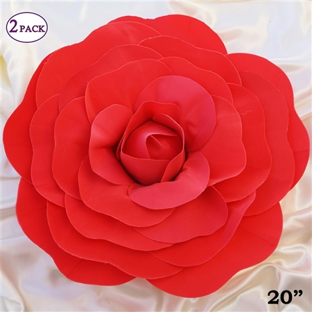 "20"" Giant Rose DIY 3D Artificial Flowers for Wedding Room Wall Decoration - Red - Pack of 2"