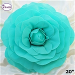 "20"" Giant Rose DIY 3D Artificial Flowers for Wedding Room Wall Decoration - Turquoise - Pack of 2"