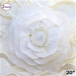 "20"" Giant Rose DIY 3D Artificial Flowers for Wedding Room Wall Decoration - White - Pack of 2"