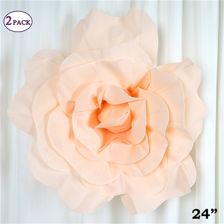 "24"" Giant 3D Artificial Flowers for Wedding Room Wall Decoration - Blush - Pack of 2"