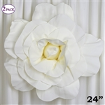 "24"" Giant 3D Artificial Flowers for Wedding Room Wall Decoration - Ivory - Pack of 2"