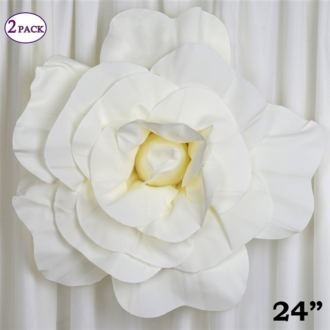 Purchase 24 giant ivory 3d artificial flowers online 24 giant 3d artificial flowers for wedding room wall decoration ivory pack of mightylinksfo