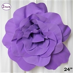 "24"" Giant 3D Artificial Flowers for Wedding Room Wall Decoration - Lavender - Pack of 2"