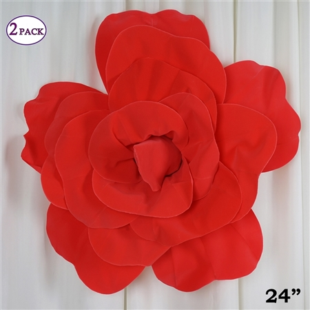 "24"" Giant 3D Artificial Flowers for Wedding Room Wall Decoration - Red - Pack of 2"