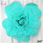 "24"" Giant 3D Artificial Flowers for Wedding Room Wall Decoration - Turquoise - Pack of 2"