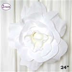 "24"" Giant 3D Artificial Flowers for Wedding Room Wall Decoration - White - Pack of 2"