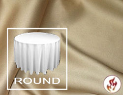 "Rental Fire Retardant 108"" Satin Lamour Round Tablecloth"