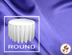 "Rental Fire Retardant 114"" Satin Lamour Round Tablecloth"