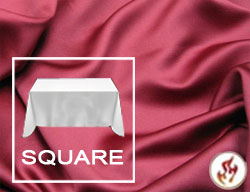 "Rental Fire Retardant 120""x120"" Satin Lamour Overlay Tablecloth"