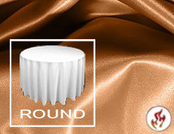 "Rental Fire Retardant 120"" Round Satin Lamour Tablecloth"