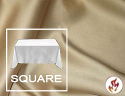 "Rental Fire Retardant 72""x72"" Satin Lamour Overlay Tablecloth"