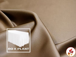 Flame Retardant Satin Lamour Box Pleat Table Skirt - 6FT  (4 Sides Covered) - 17FT Section - 2-Pack