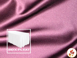 Flame Retardant Satin Lamour Box Pleat Table Skirt - 8FT  (3 Sides Covered) - 13FT Section - 2-Pack