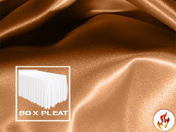 Flame Retardant Satin Lamour Box Pleat Table Skirt - 8FT  (4 Sides Covered) - 21FT Section - 2-Pack